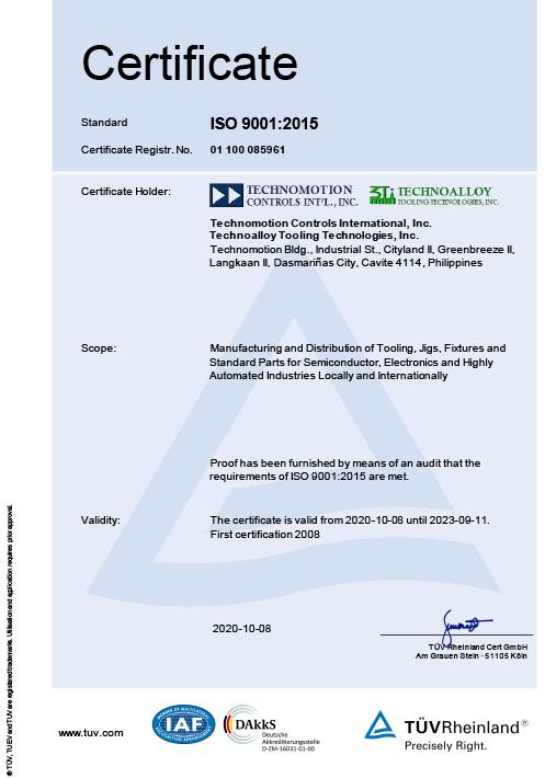 Technoalloy ISO 9001:2000 Certification